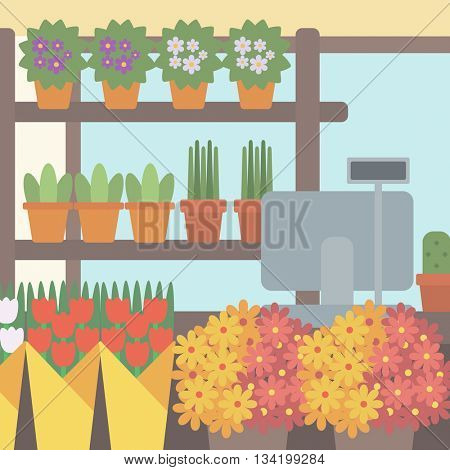 Background of flower shop. Counter with cash box in flower shop vector flat design illustration. Square layout.