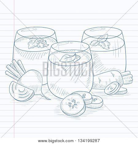 Freshly squeezed vegetable juices from cucumber, beet and carrot. Squeezed vegetable juices hand drawn on notebook paper in line background. Squeezed vegetable juices vector sketch illustration.