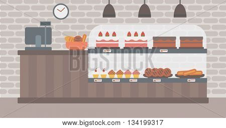 Background of bakery. Bakery shop interior. Bakery counter full of bread and pastries vector flat design illustration. Horizontal layout.