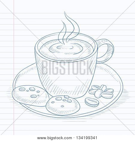 Coffee cup with biscuits and coffee beans on saucer. Coffee hand drawn on notebook paper in line background. Coffee vector sketch illustration.