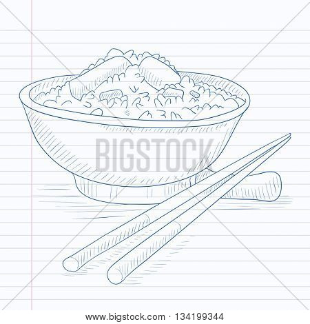Bowl of boiled rice with chopsticks. Bowl of boiled rice hand drawn on notebook paper in line background. Bowl of boiled rice vector sketch illustration.