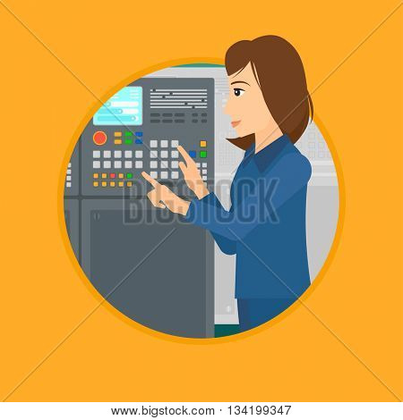 Woman working on control panel. Woman pressing button at control panel in plant. Engineer standing in front of the control panel. Vector flat design illustration in the circle isolated on background.