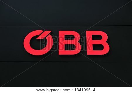 VIENNA AUSTRIA - JUNE 6: Logotype of QBB Austrian railways in Vienna on June 6 2016. QBB is national austrian operator of railway public transport.