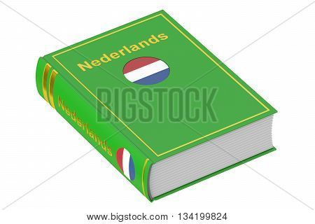 Netherlandish language textbook 3D rendering isolated on white background