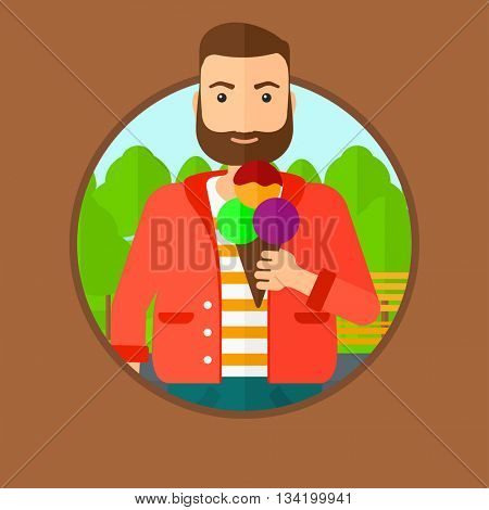 A hipster young man with the beard eating a big ice cream. Man holding an ice cream in hand. Man enjoying an ice cream at park. Vector flat design illustration in the circle isolated on background.