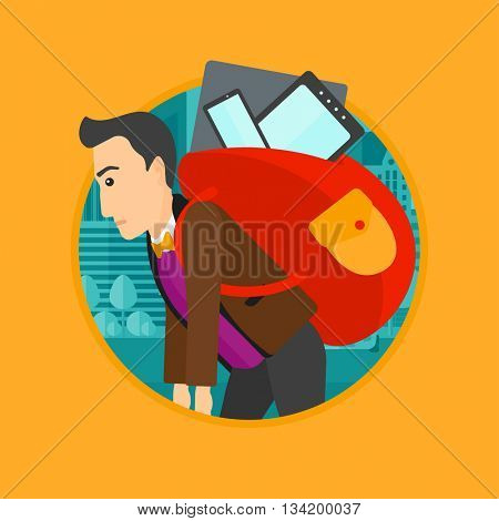 Man walking with backpack full of different devices. Man walking with many devices in the city. Man with many electronic devices. Vector flat design illustration in the circle isolated on background.
