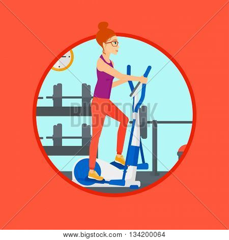 Woman exercising on an elliptical trainer. Woman working out using elliptical trainer at the gym. Woman using elliptical trainer. Vector flat design illustration in the circle isolated on background.