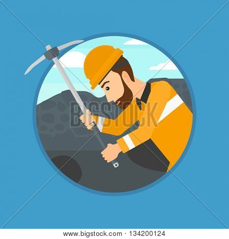 A hipster miner with the beard working with a pickaxe. Mine worker in hard hat. Miner at the coal mine. Vector flat design illustration in the circle isolated on background.