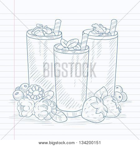 Various fresh berries smoothies in glasses with straw. Smoothies hand drawn on notebook paper in line background. Smoothies vector sketch illustration.