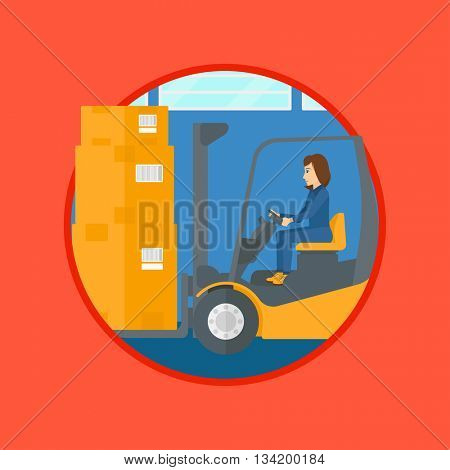 Warehouse worker loading cardboard boxes. Forklift driver at work in storehouse. Warehouse worker driving forklift at warehouse. Vector flat design illustration in the circle isolated on background.