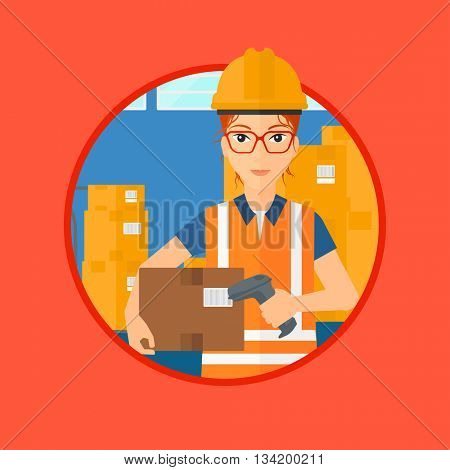 Female warehouse worker scanning barcode on box. Warehouse worker checking barcode of box with a scanner. Warehouse worker in hard hat with scanner. Vector flat design illustration in the circle.