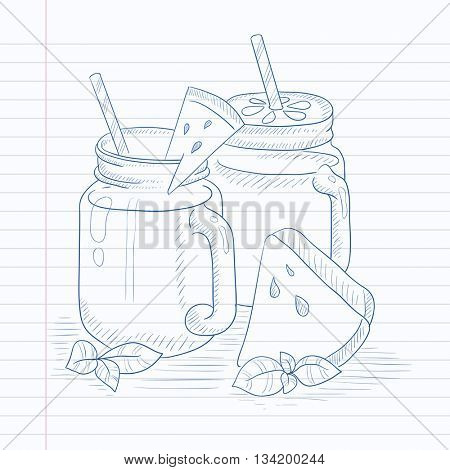 Watermelon smoothie in mason jar with mint and straw. Watermelon smoothie hand drawn on notebook paper in line background. Watermelon smoothie vector sketch illustration.