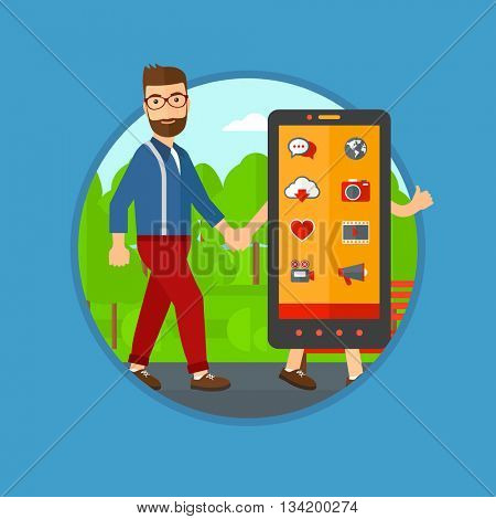 Hipster man with the beard walking with a big smartphone. Man and big smartphone in the park. Man holding the hand of smartphone. Vector flat design illustration in the circle isolated on background.