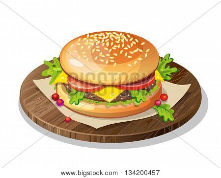 Isolated classic hamburger on wooden plate on white background. Fresh sandwich with beef, lettuce, tomato, bun and cheese. American fast food.