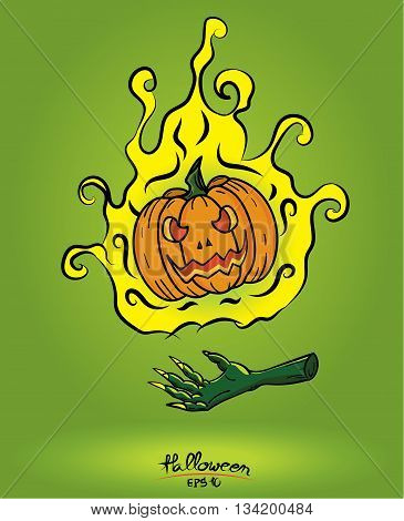 Pumpkin In Fire Floating On The Devil Hand On Green Background,halloween Concept