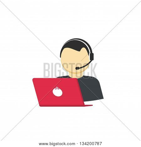 Customer support vector icon isolated on white, flat cartoon support service assistant, phone call help center concept illustration, operator assistance person