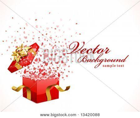 Open gift with flying hearts confetti Valentine's day vector background