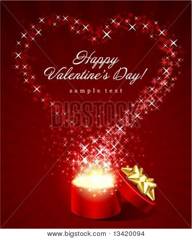 Open gift present box with fly stars heart shape Valentine's day vector background