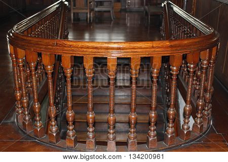 Century Old wooden Handrails circling the stairs