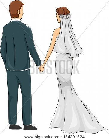 Back View Illustration of a Newly Married Couple