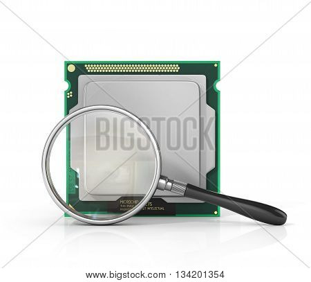 Concept of computer repair. Computer processor with magnifier. IT service. 3d illustration
