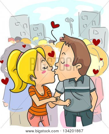 Illustration of a Couple Kissing in Public