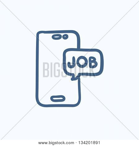 Touch screen phone with message vector sketch icon isolated on background. Hand drawn Touch screen phone with message icon. Touch screen phone with message sketch icon for infographic, website or app.