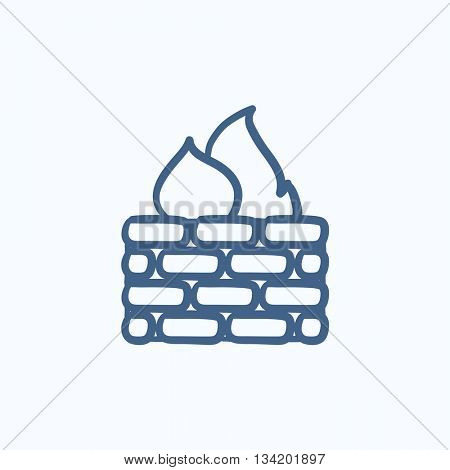 Firewall vector sketch icon isolated on background. Hand drawn Firewall icon. Firewall sketch icon for infographic, website or app.