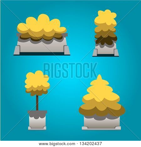 Set of bushes in hand-drawn style for decoration on your works bush cartoon vector yellow plants and bush in cartoon style