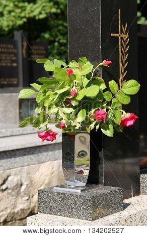bunch of pink roses in the vase on the cemetery