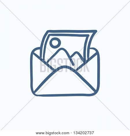 Envelope mail with photo vector sketch icon isolated on background. Hand drawn Envelope mail with photo icon. Envelope mail with photo sketch icon for infographic, website or app.