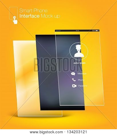 Smartphone Interface Ui Design Mock Up ,phone6 Ratio Screen,yellow Background
