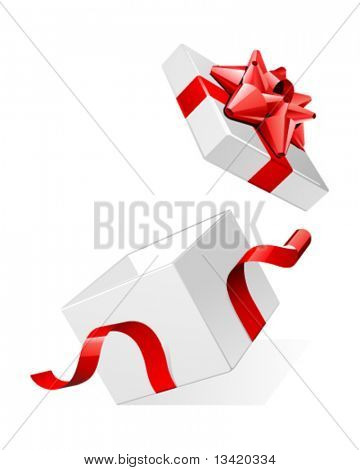 Vector open white gift present surprise box with shiny red bow
