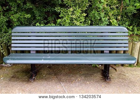 close up on a bench in a park