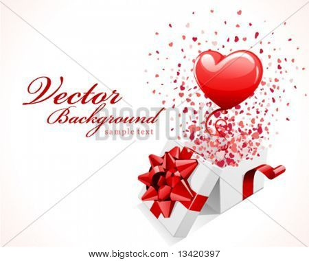 Open gift present box with fly hearts and balloon Valentine's day vector background
