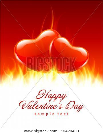 Burn two hearts flame fire Valentine's day vector background