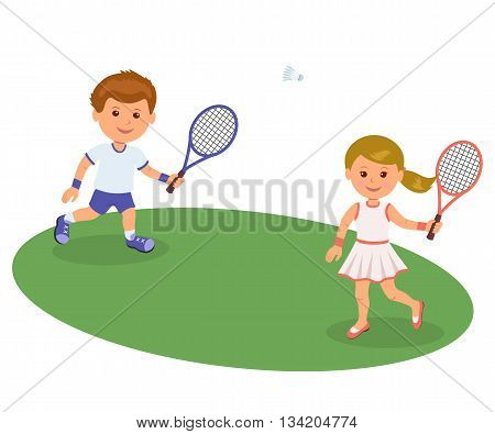 Boy and girl playing on the lawn badminton. Isolated vector illustration happy kids playing badminton. Sports lifestyle.