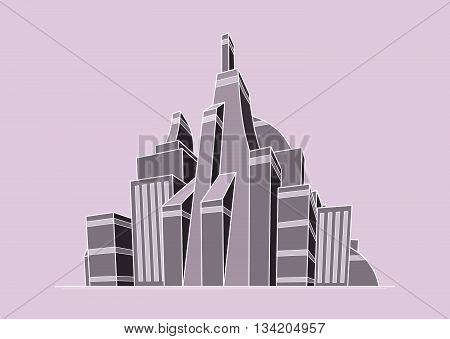 Illustration of futuristic city in pink-grey colors