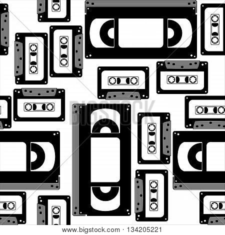 Black and white seamless pattern on the theme of VHS
