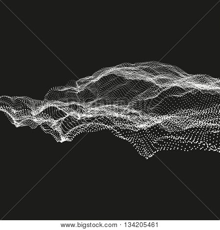 Array with Dynamic Particles. Abstract Vector Landscape Background. Futuristic Design. 3D Technology  Illustration.