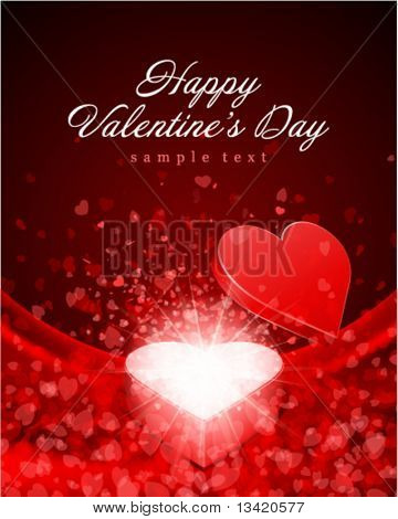 Valentine's day vector background open gift present with fly hearts