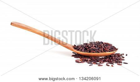 Rice Berry In Wooden Spoon Isolated On White Background