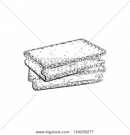 Hand drawn sponge. Cleansers for body care and hygiene. Detailed sketch of wisp of bast isolated on white background. Black and white pencil or ink drawing