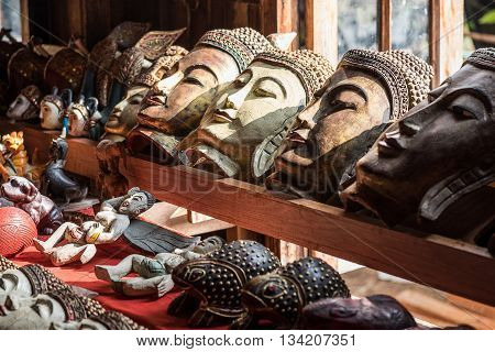 Antique stone mask in a day light