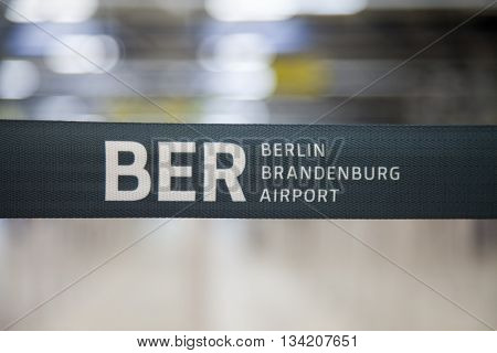 BERLIN / GERMANY - JUNE 4 2016: BER berlin brandenburg barrier bound on airport in schoenefeld berlin / germany at june 4 2016.