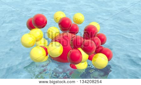 Large group of orbs or spheres levitation above water surface. 3D rendering