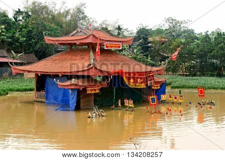 HA NOI, VIET NAM, October 12, 2015, stage, water puppetry, suburb of Ha Noi. Water puppetry tradition. People are favorite