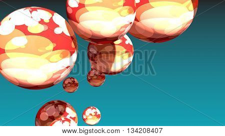 Large group of spotted orbs or spheres levitation in empty space. 3D rendering