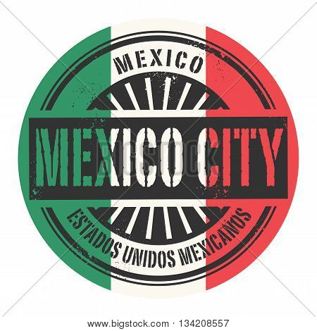 Grunge rubber stamp with the text Mexico, Mexico City, vector illustration