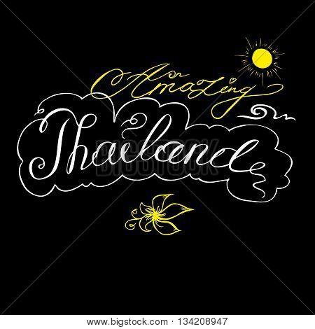 Amazing Thailand background on black hand drawing vector illustration